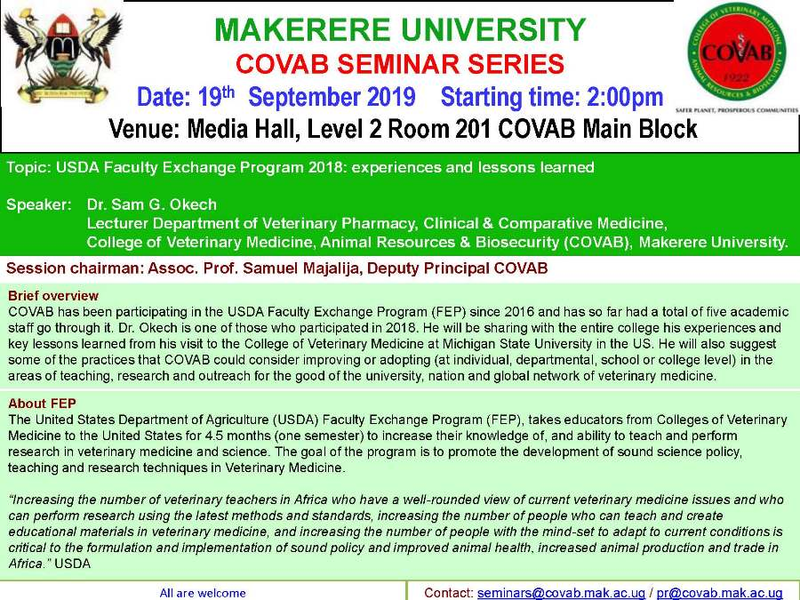 CoVAB Seminar Series featuring Dr. Sam G. Okech, 19th September 2019, Media Hall, Level 2 Room 201, Main Block, CoVAB, Makerere University, Kampala Uganda
