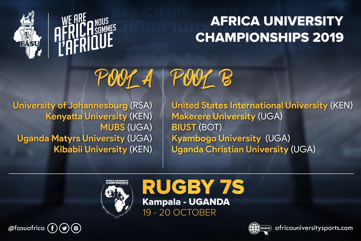 1st FASU Kings Africa Rugby Sevens Championship, 19th-20th October 2019, Impis Rugby Grounds (The Graveyard), Makerere University, Kampala Uganda. Photocredit: FASU @FASUAfrica