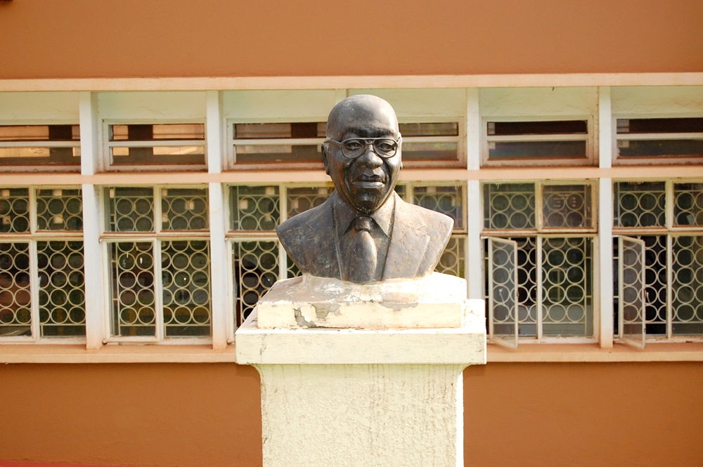 A bust erected in honour of the late two-time Vice Chancellor, Professor William Senteza Kajubi at the College of Education and External Studies, Makerere University, Kampala Uganda. The bust was unveiled on 20th December 2010.