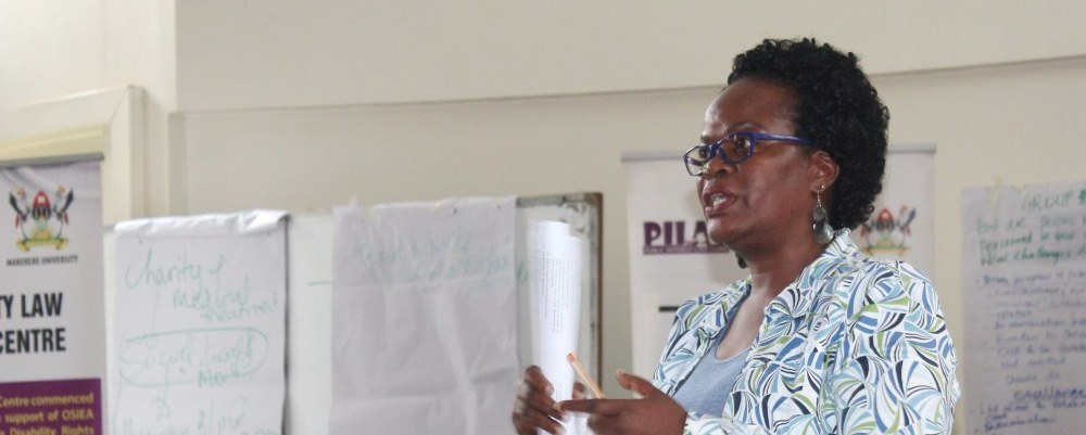 Dr. Damalie Naggita Musoke conducts one of the trainings on Disability Law and Rights, Makerere University, Kampala Uganda