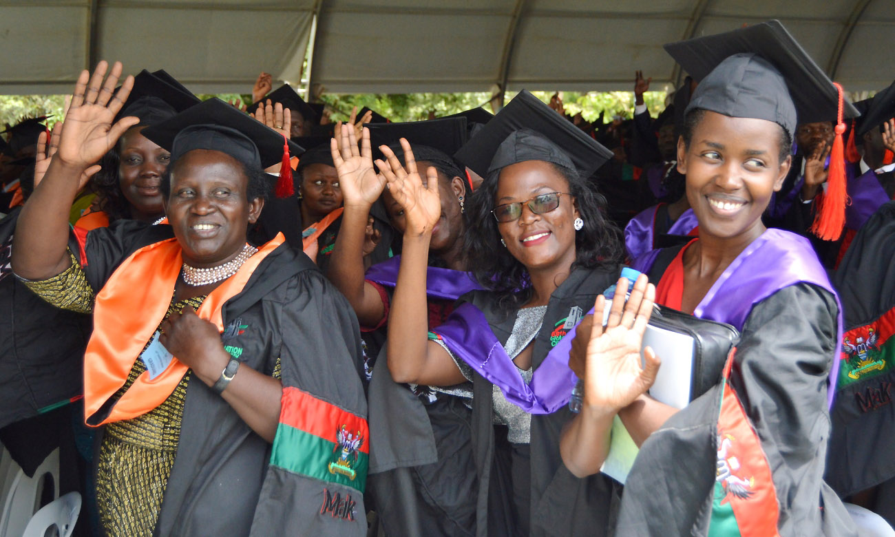 Female Graduands wave during Day 1 of the 69th Graduation Ceremony on 15th January 2019, Freedom Square, Makerere University, Kampala Uganda