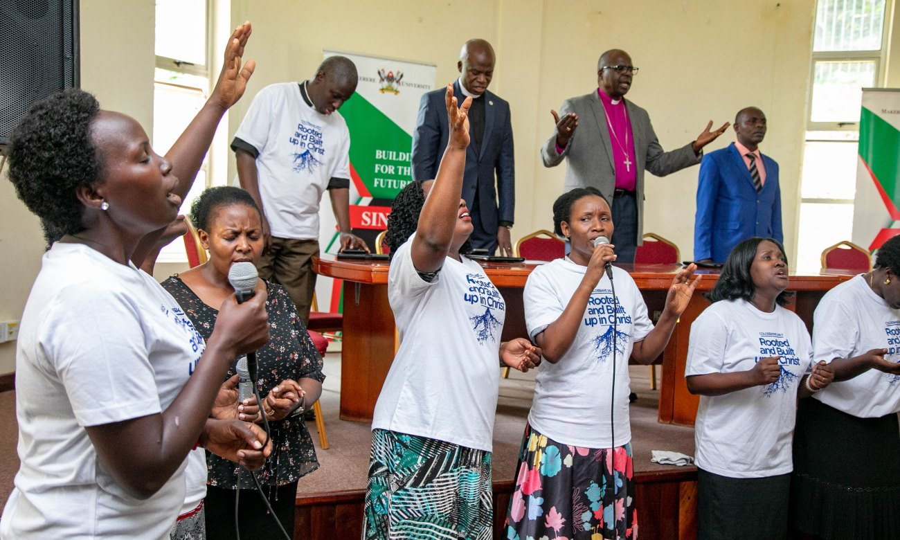 Members of St. Francis Chapel Choir lead brethren in worship during the inauguration of the Joint Staff Fellowship Steering Committee on 13th September 2019, Conference Hall, School of Food Technology, Nutrition and Bioengineering, Makerere University, Kampala Uganda.