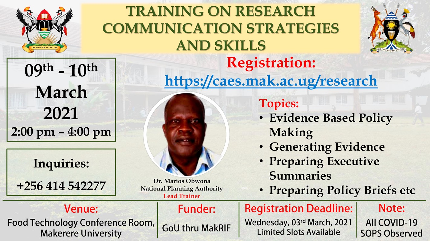 Research Communication Strategies and Skills Training, 9th and 10th February 2020 at 2:00pm each day, SFTNB Conference Hall, Makerere University