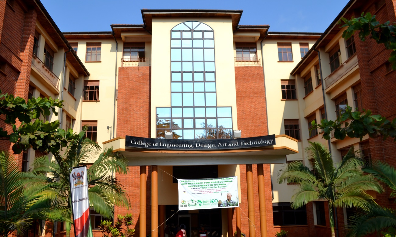 The Main Entrance of the New Building, College of Engineering, Design, Art and Technology (CEDAT), Makerere University, Kampala Uganda. Date taken: 8th July 2014.